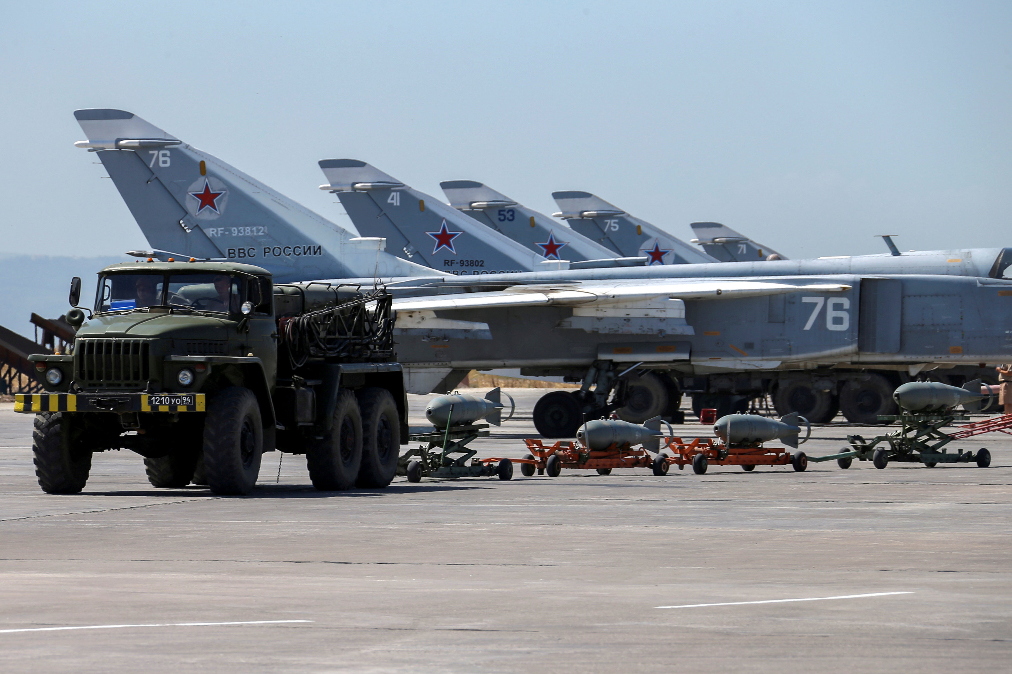 Russian military jets are seen at Hmeymim air base in Syria,