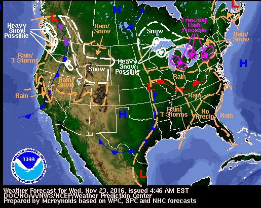 Thanksgiving weekend forecast map