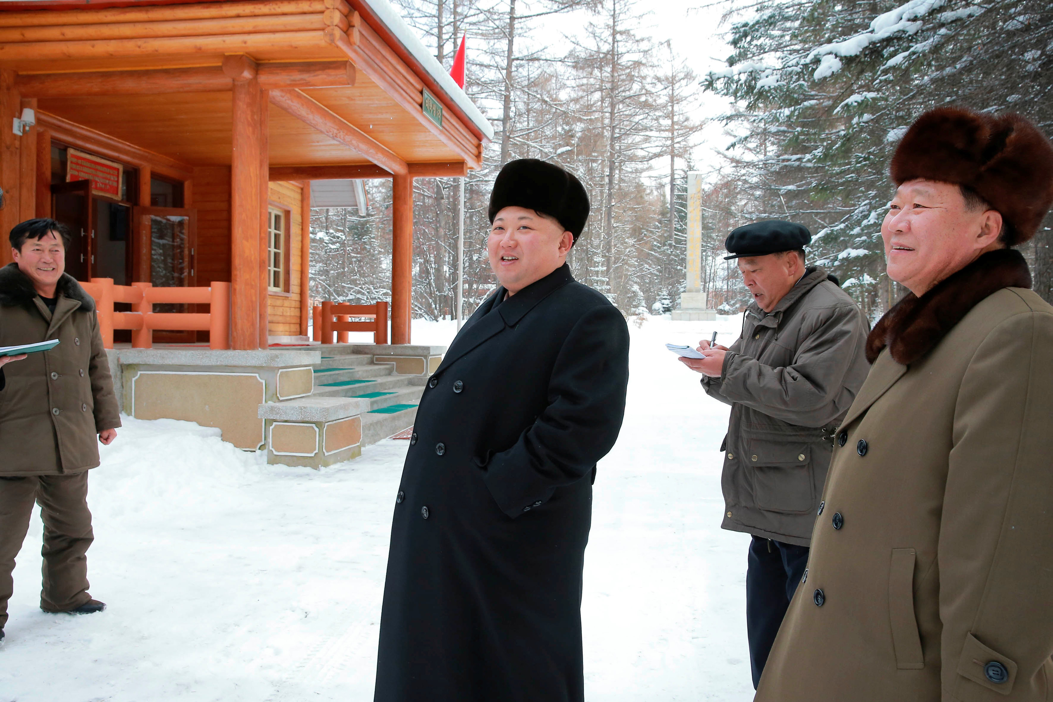 North Korean leader Kim Jong Un gives guidance during his visit to various fields of Samjiyon County in this undated photo released by North Korea's Korean Central News Agency (KCNA) in Pyongyang