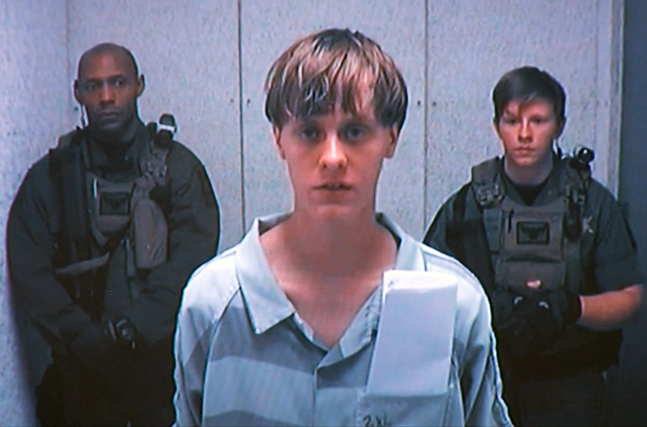 Dylann Storm Roof appears by closed-circuit television at his bond hearing in Charleston, South Carolina, U.S.