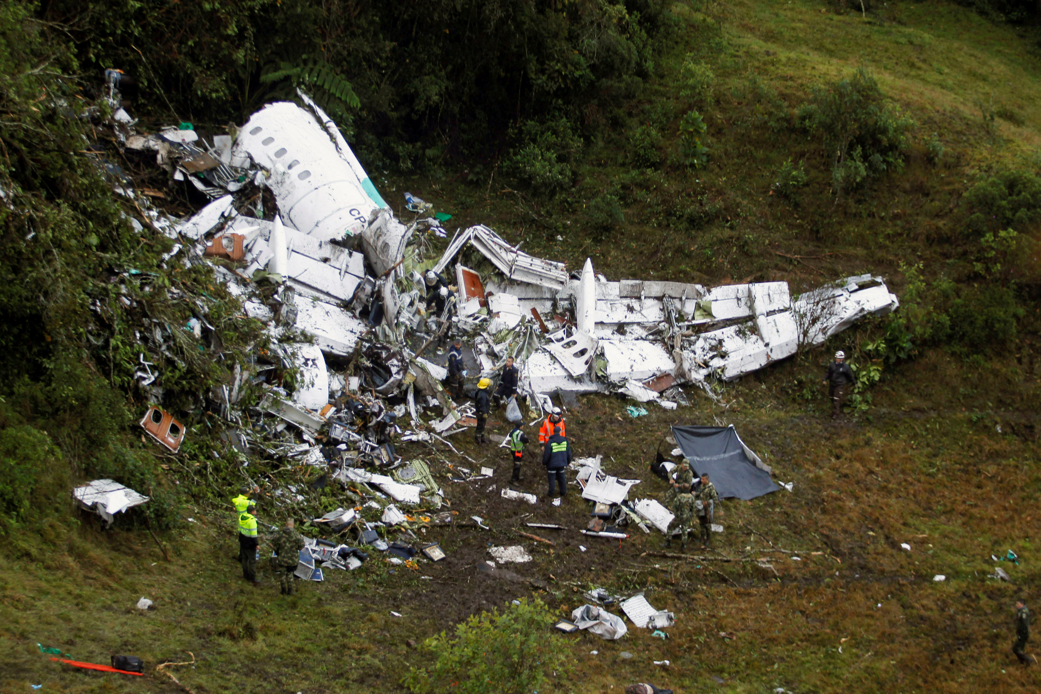 Wreckage from a plane that crashed into Colombian jungle with Brazilian soccer team Chapecoense, is seen near Medellin, Colombia,