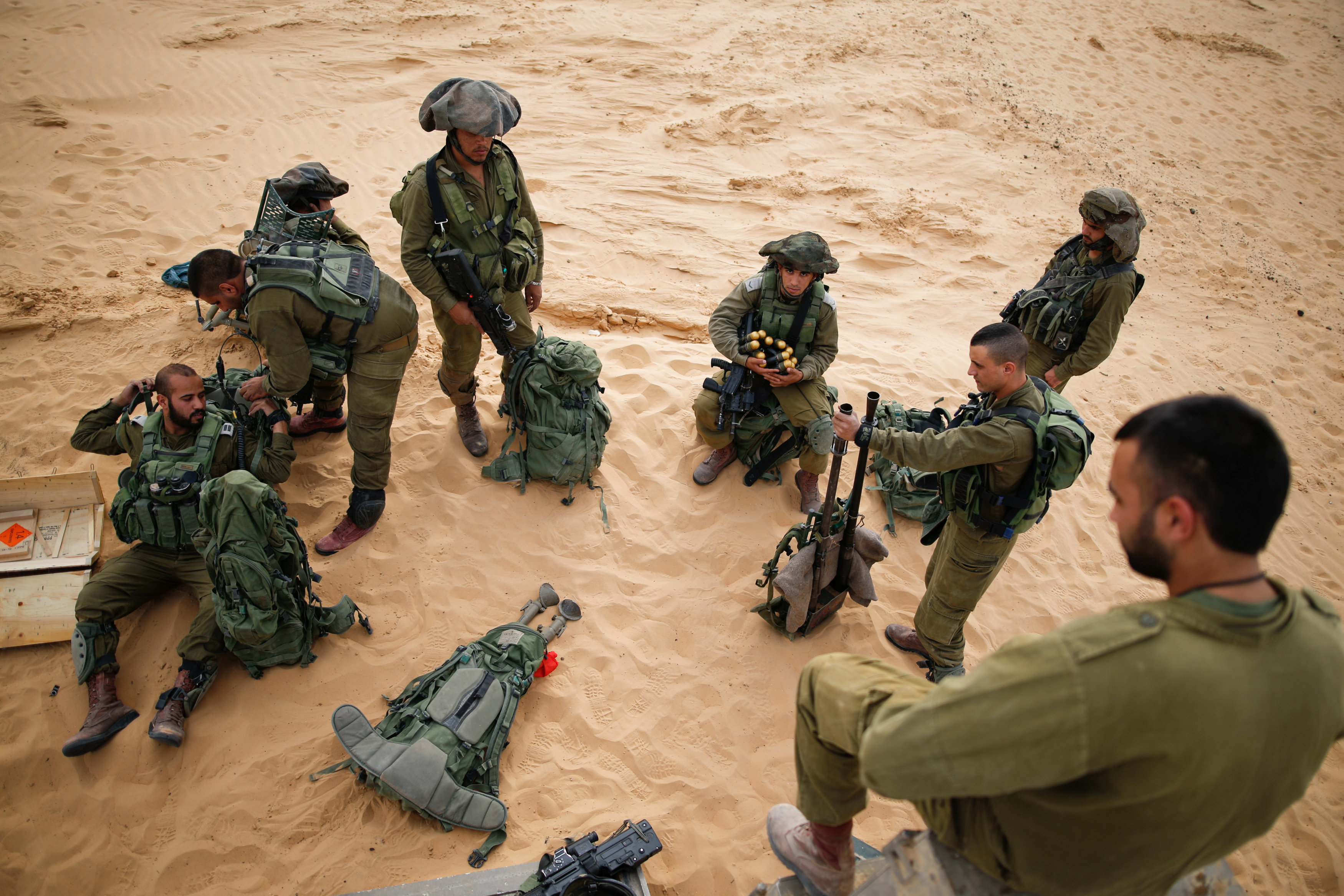 Israeli soldiers from the Desert Reconnaissance battalion take part in a drill near the Gaza Strip in southern Israel