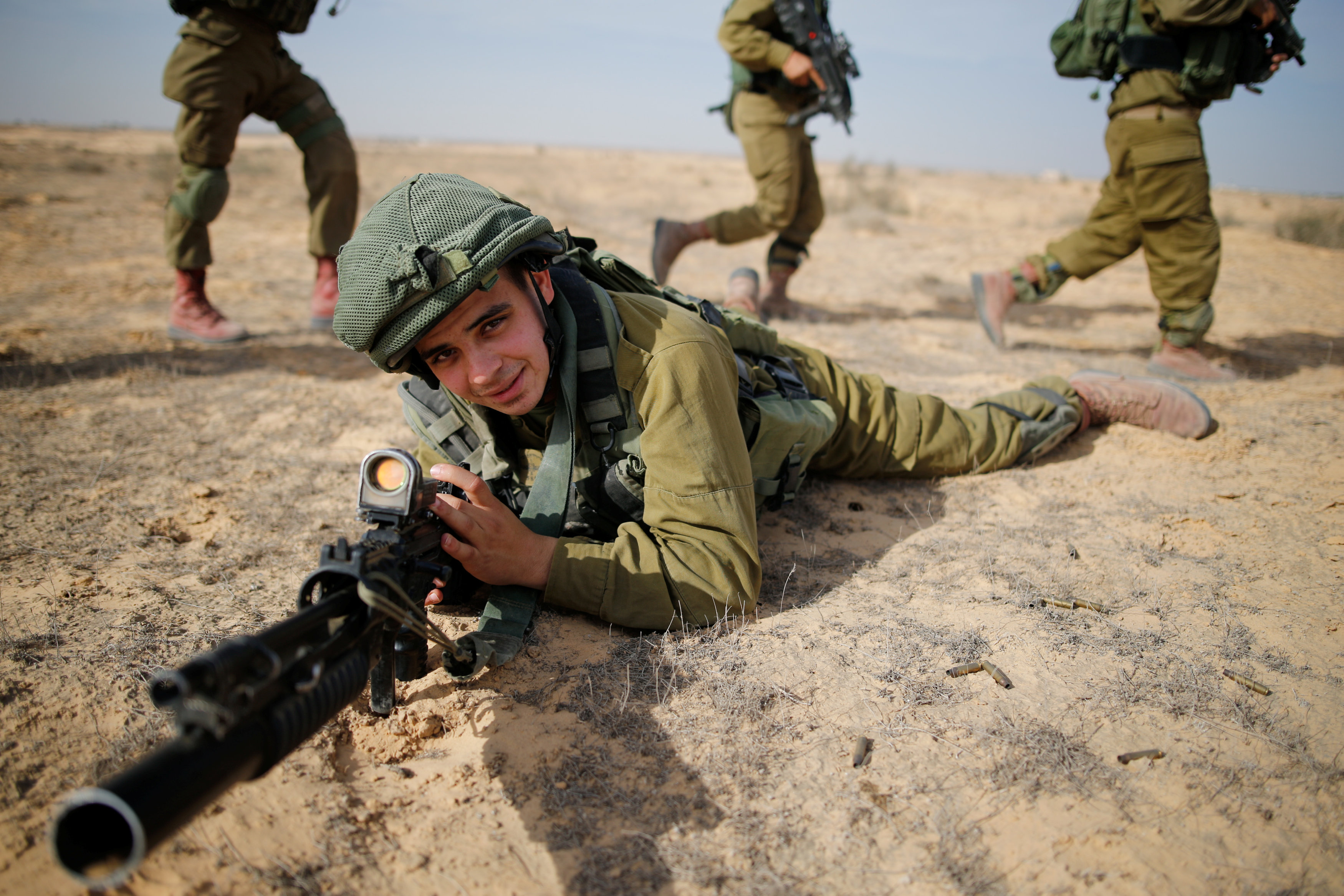 Saleh Khalil, 20, an Israeli Arab soldier from the Desert Reconnaissance battalion takes part in a drill near Kissufim in southern Israel