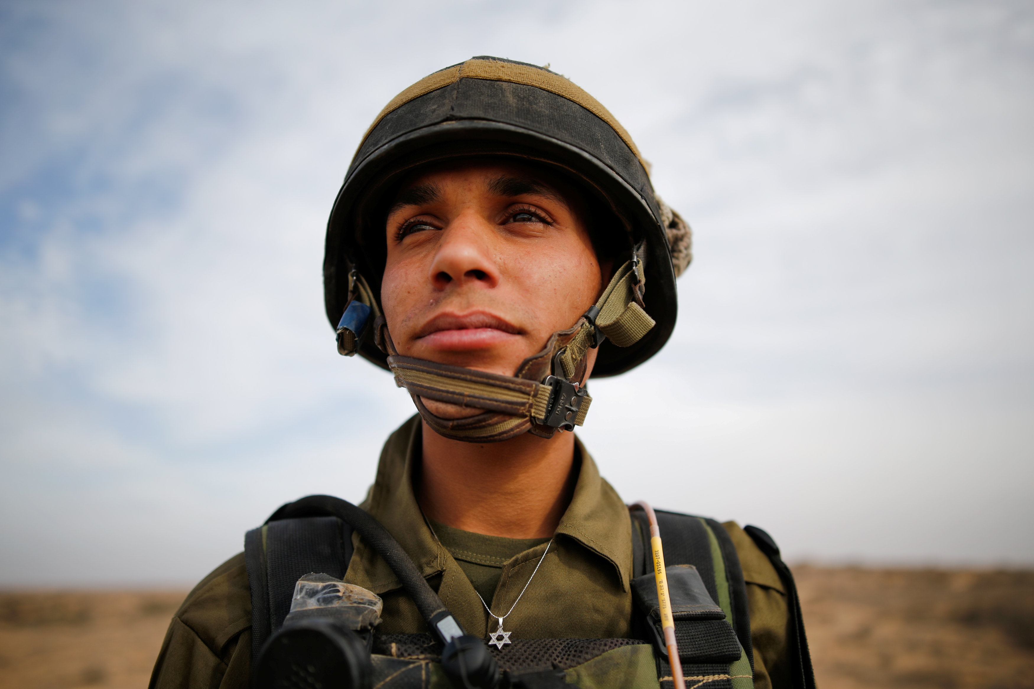 Yussef Saluta, 20, an Israeli Arab soldier from the Desert Reconnaissance battalion takes part in a drill near Kissufim in southern Israel