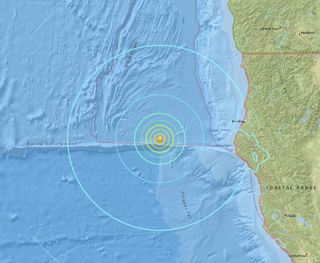 Location of 6.8 earthquake off the coast of Northern California, USGS Government