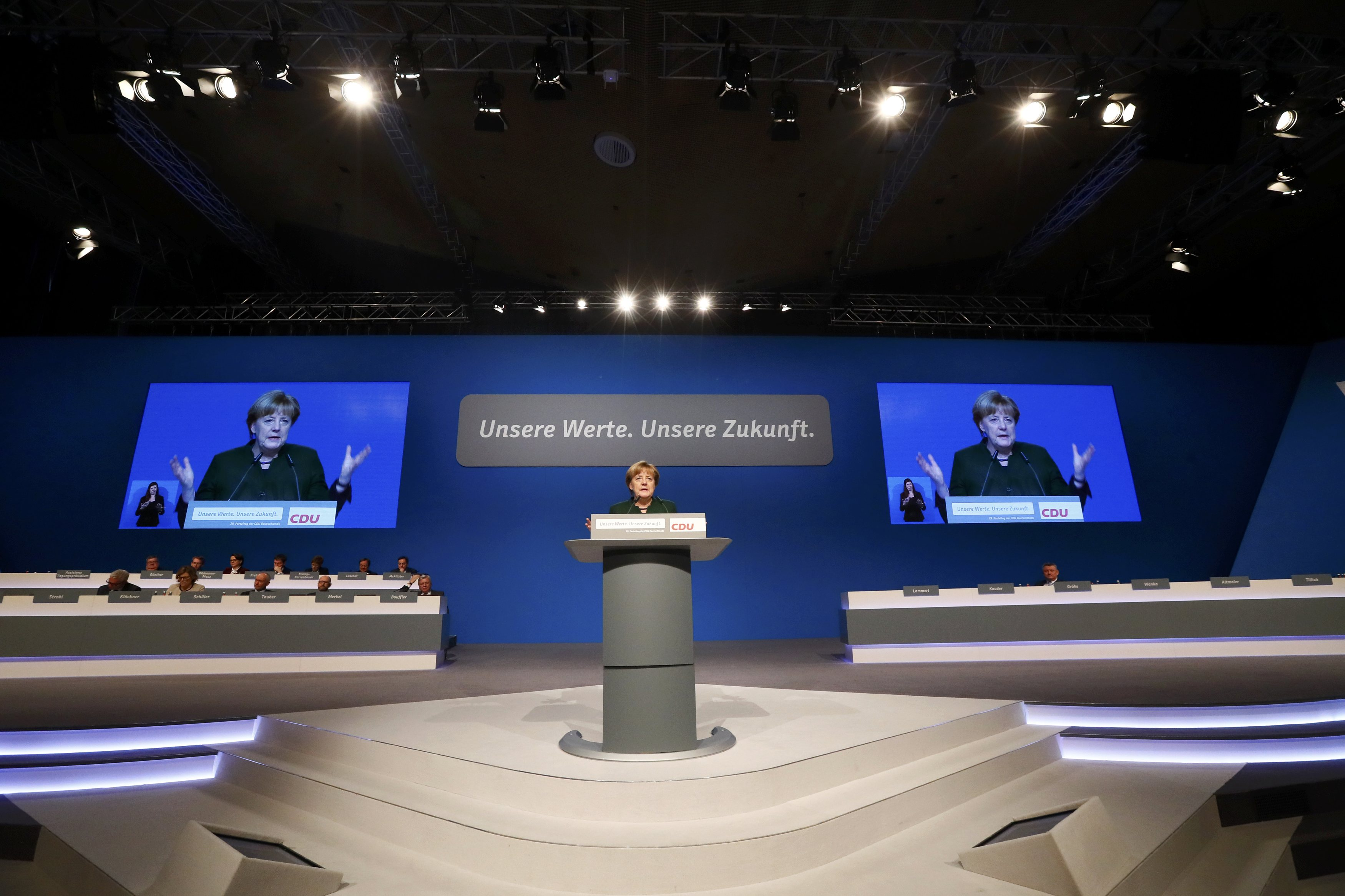 German Chancellor and leader of the conservative Christian Democratic Union party CDU Angela Merkel delivers her closing speech of the CDU party convention in Essen, Germany,