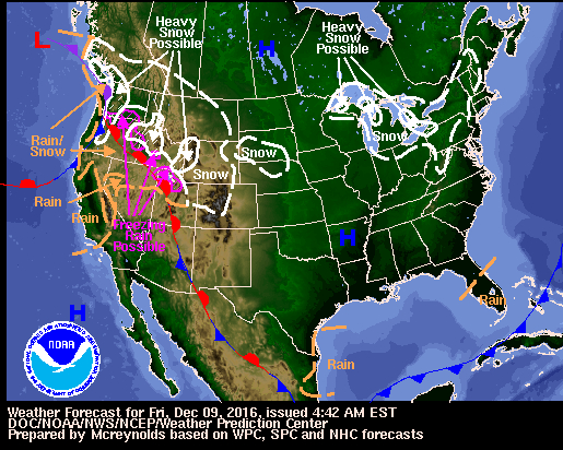 weather map from Noaa weather service 12-9-16