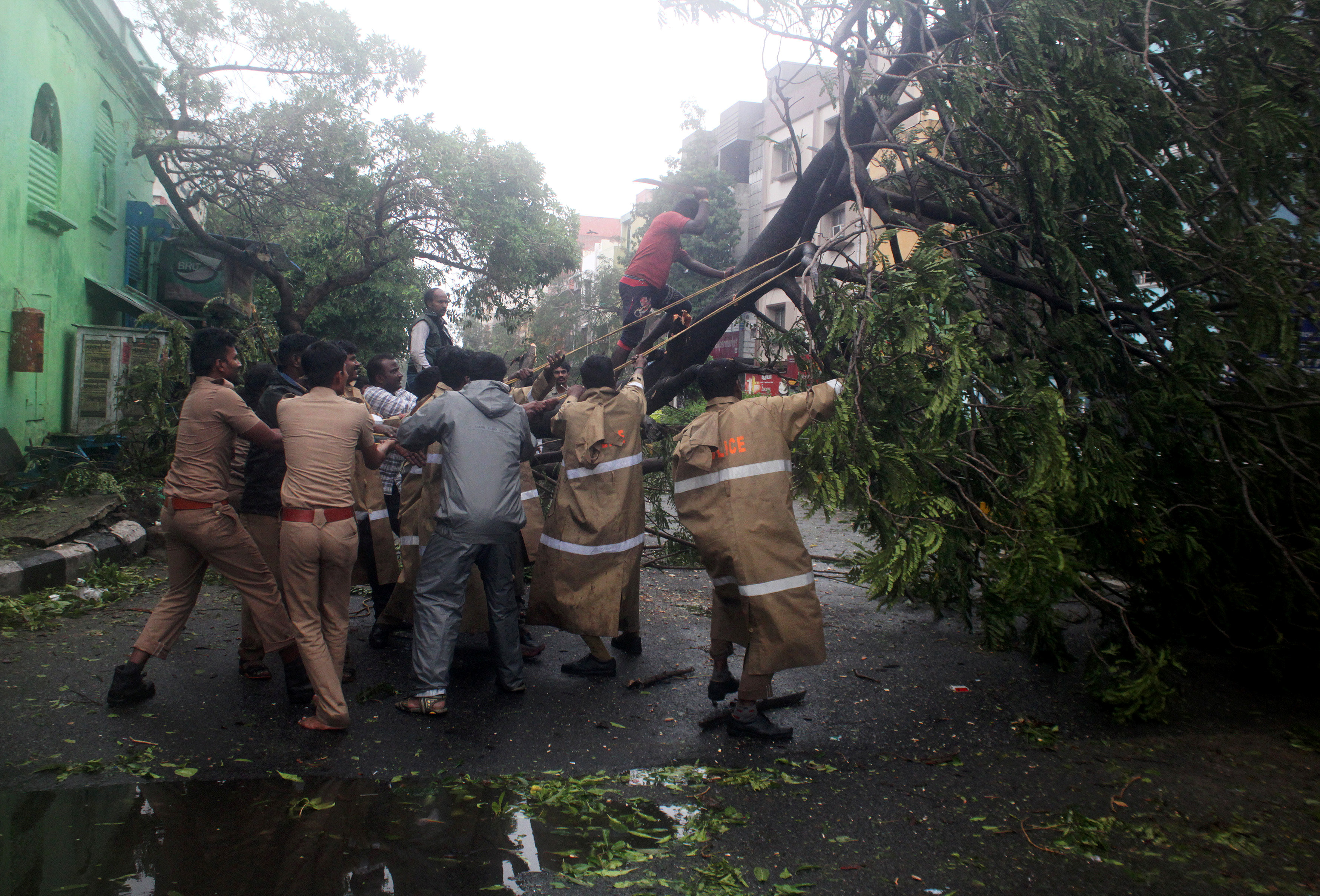 Policemen remove a tree that fell on a road after it was uprooted by strong winds in Chennai, India,