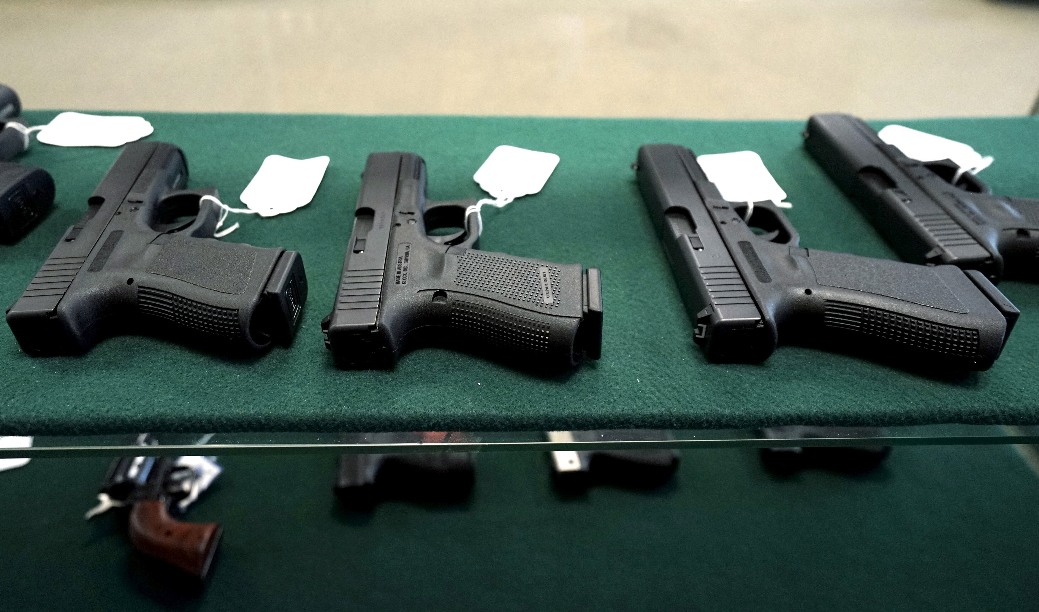A selection of Glock pistols are seen for sale at the Pony Express Firearms shop in Parker, Colorado