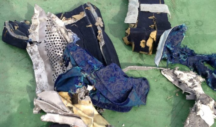 Part of a plane chair among recovered debris of the EgyptAir jet that crashed in the Mediterranean Sea is seen in this handout image