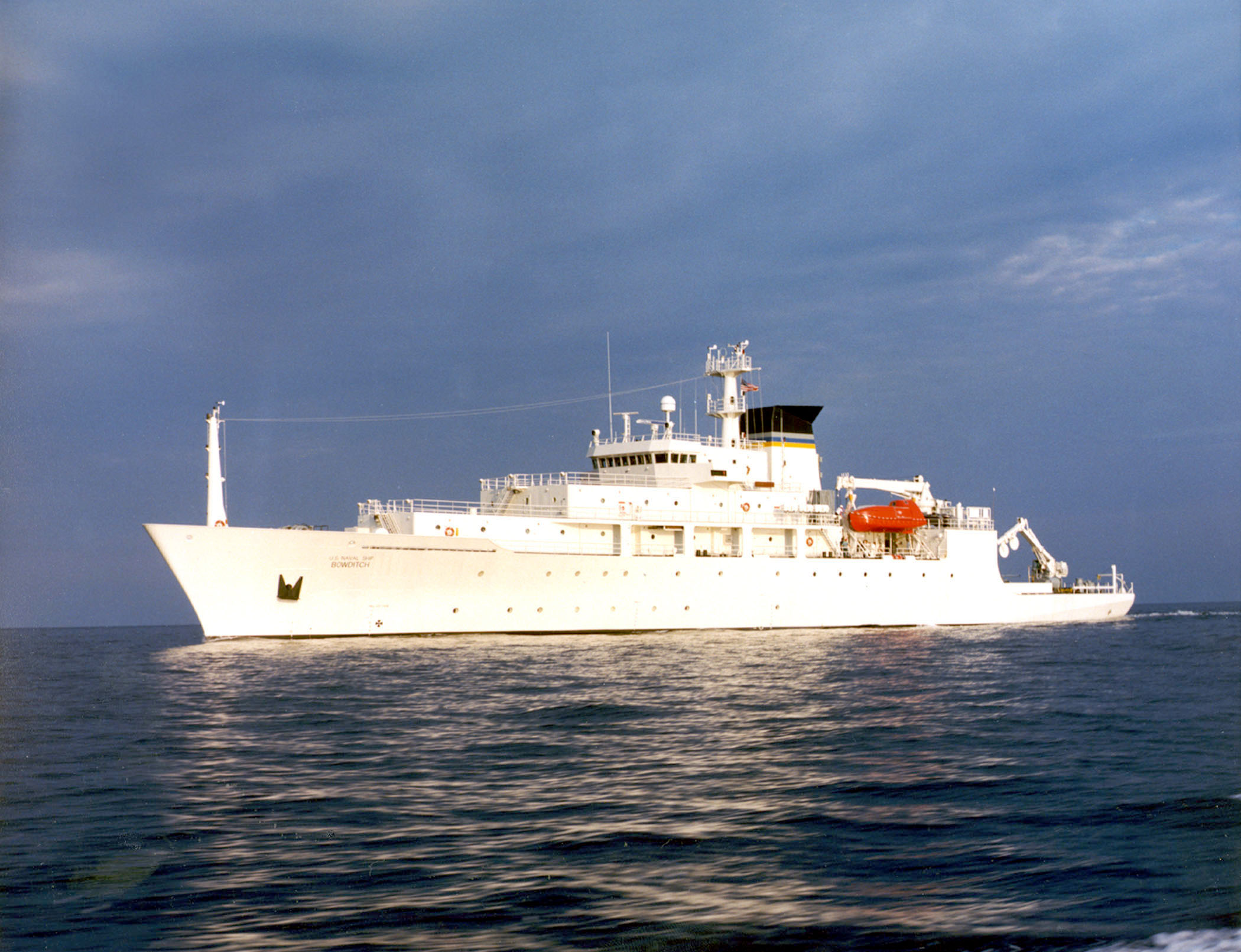 The USNS Bowditch, an oceanographic survey ship, is seen in this undated U.S. Navy