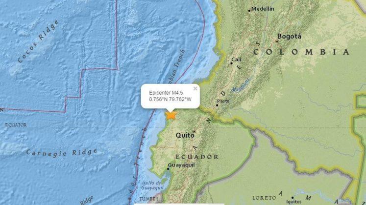 Map of location in Ecuador, center of earthquake
