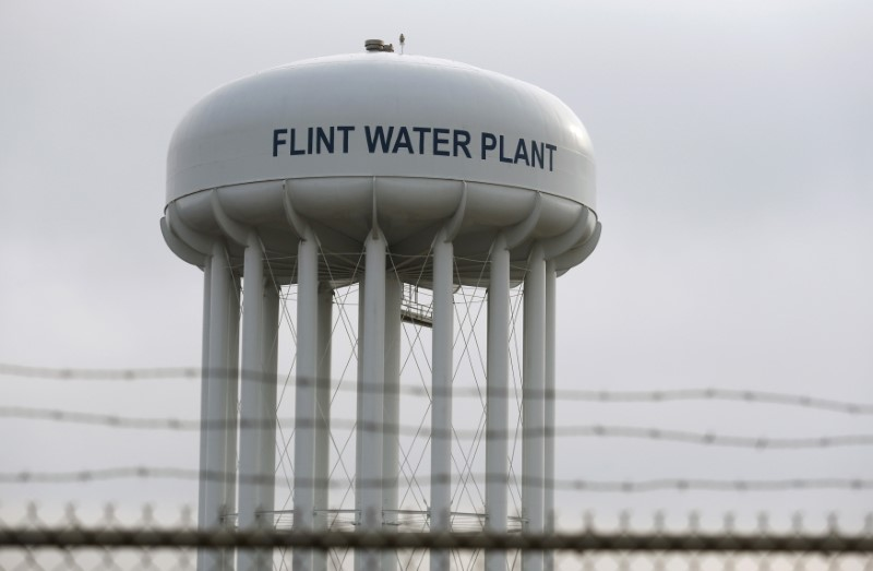 The Flint Water Plant tower is seen in Flint, Michigan, U.S.