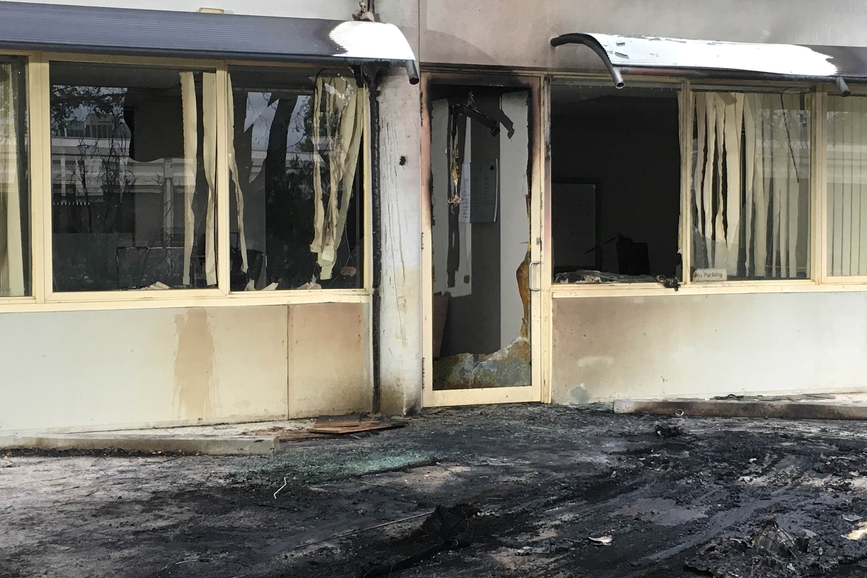 The damaged entrance to the offices of the Australian Christian Lobby Group in Canberra, Australia,