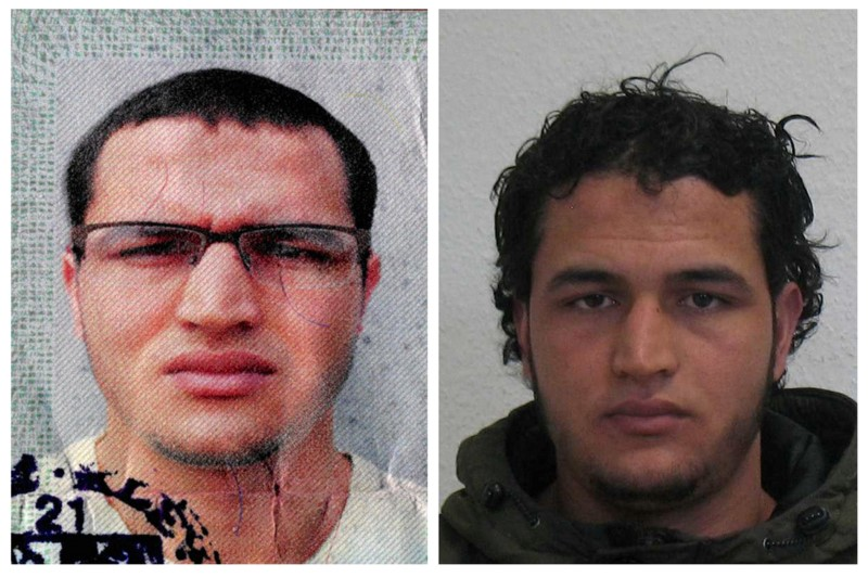Anis Amri in a combination image released by German police.