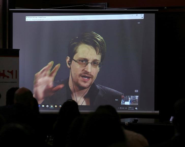 Edward Snowden speaks via video link during a conference at University of Buenos Aires Law School, Argentina,