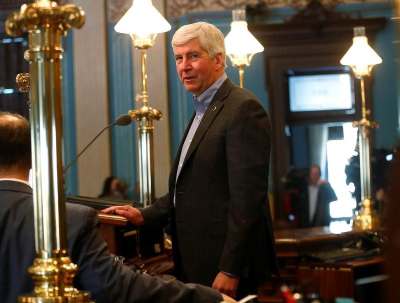 Michigan Republican Governor Rick Snyder in Lansing, Michigan, U.S.,