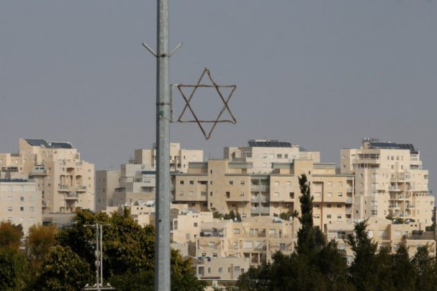 A general view shows a Star of David near buildings in the Israeli settlement of Maale Edumim, in the occupied West Bank