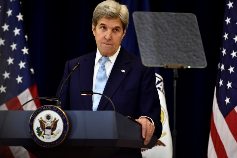 U.S. Secretary of State John Kerry delivers remarks on Middle East peace at the Department of State in Washington