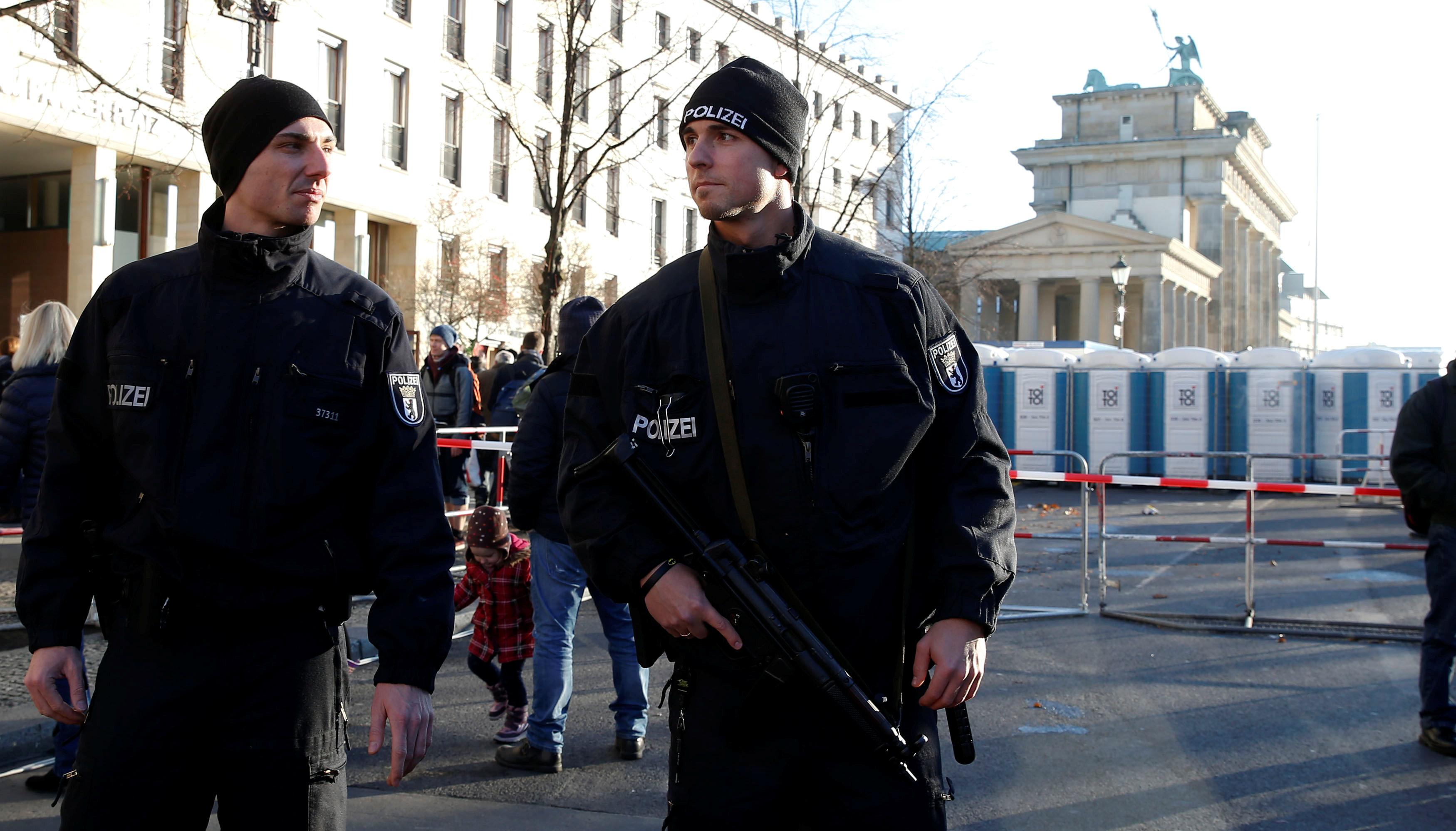 German policemen patrol