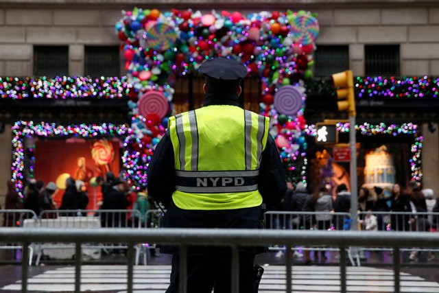 NYPD standing guard during Christmas Eve