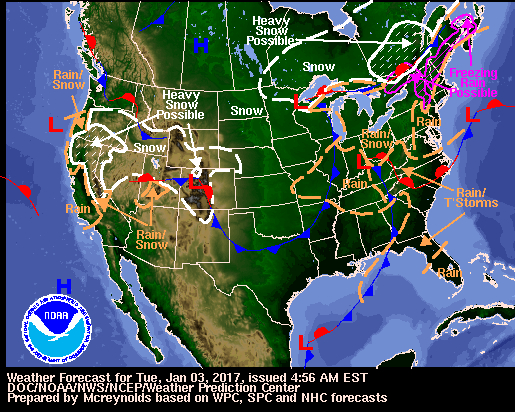 National Weather Service forecast map for January 3rd, 2017