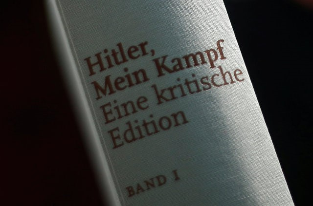 A copy of the book 'Hitler, Mein Kampf. A Critical Edition' is displayed for media prior to a news conference in Munich, Germany