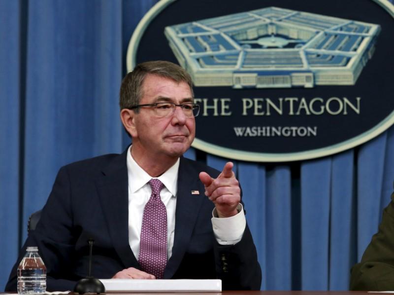 U.S. Defense Secretary Ash Carter addresses a news conference at the Pentagon in Washington,