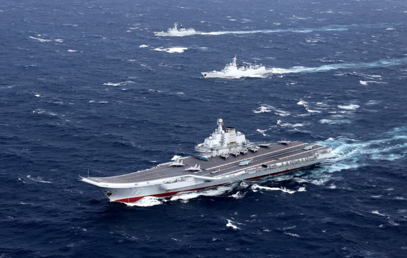 Chinese aircraft carrier in South China Sea