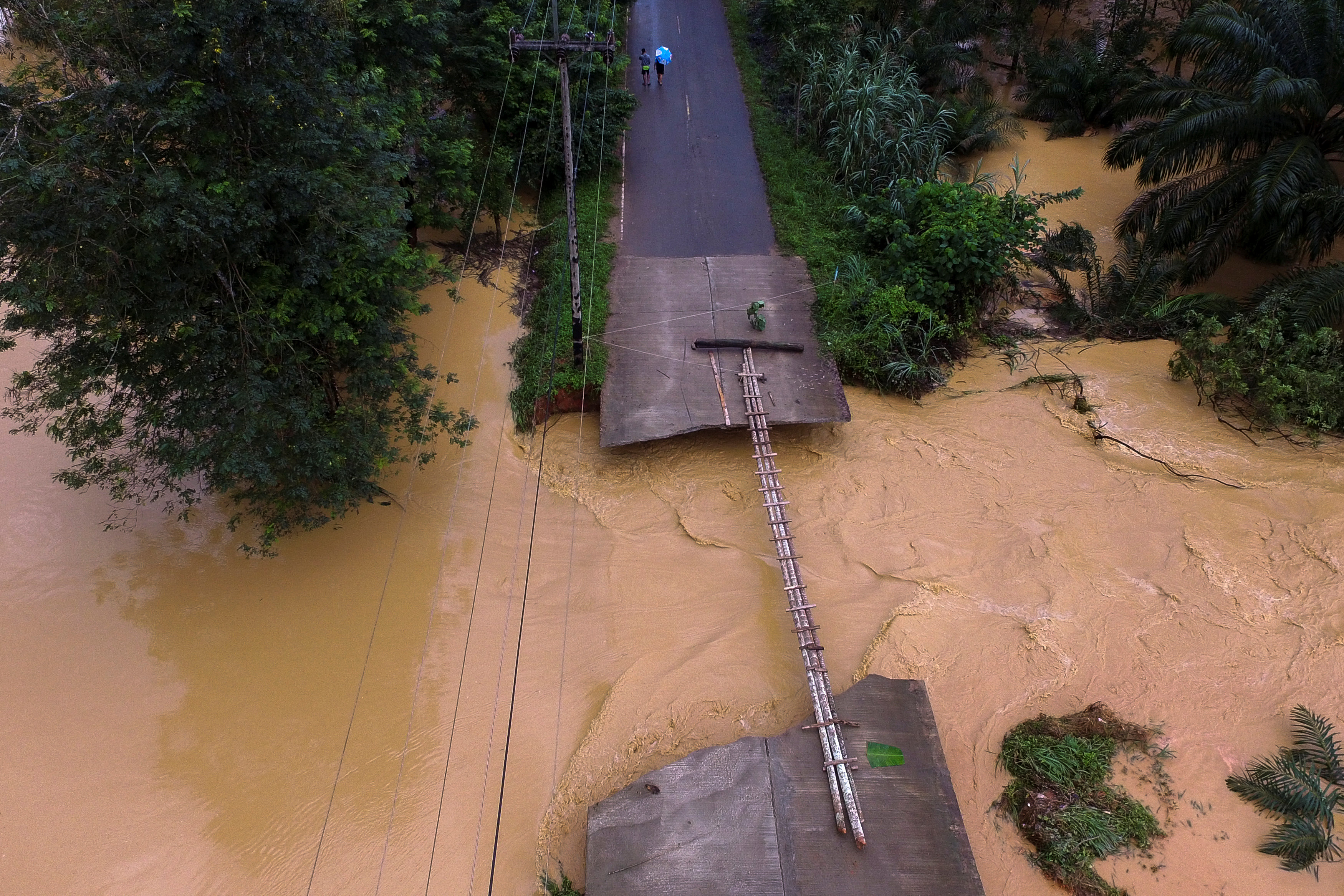 Bridge damaged by floods in Thailand