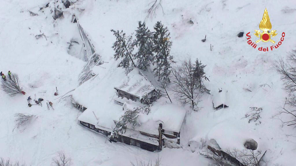 An aerial view shows Hotel Rigopiano in Farindola, central Italy, hit by an avalanche, in this January 19, 2017 handout picture provided by Italy's firefighters.