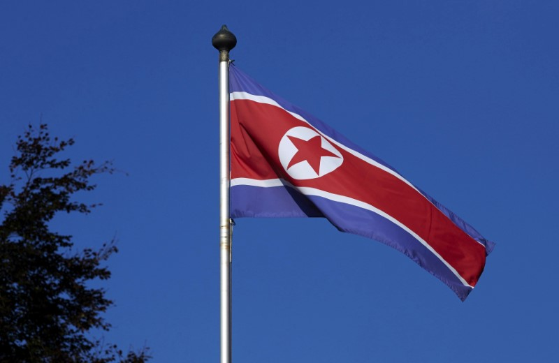A North Korean flag flies on a mast at the Permanent Mission of North Korea in Genev