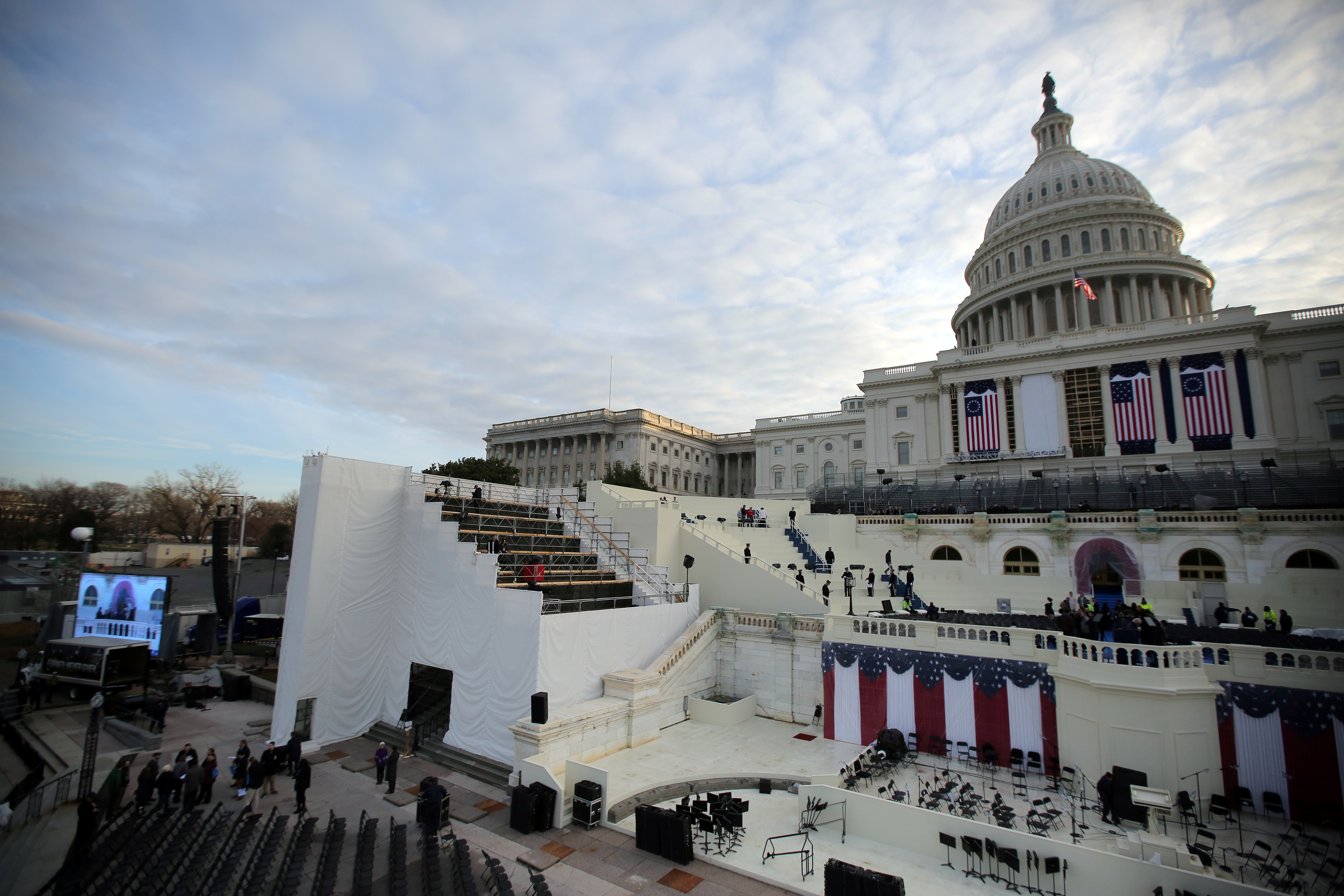 The U.S. Capitol is seen during a rehearsal for the inauguration ceremony of U.S. President-elect Donald Trump in Washington, U.S.,