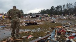Air Force airman surveys the damage done by January tornado in Georgia