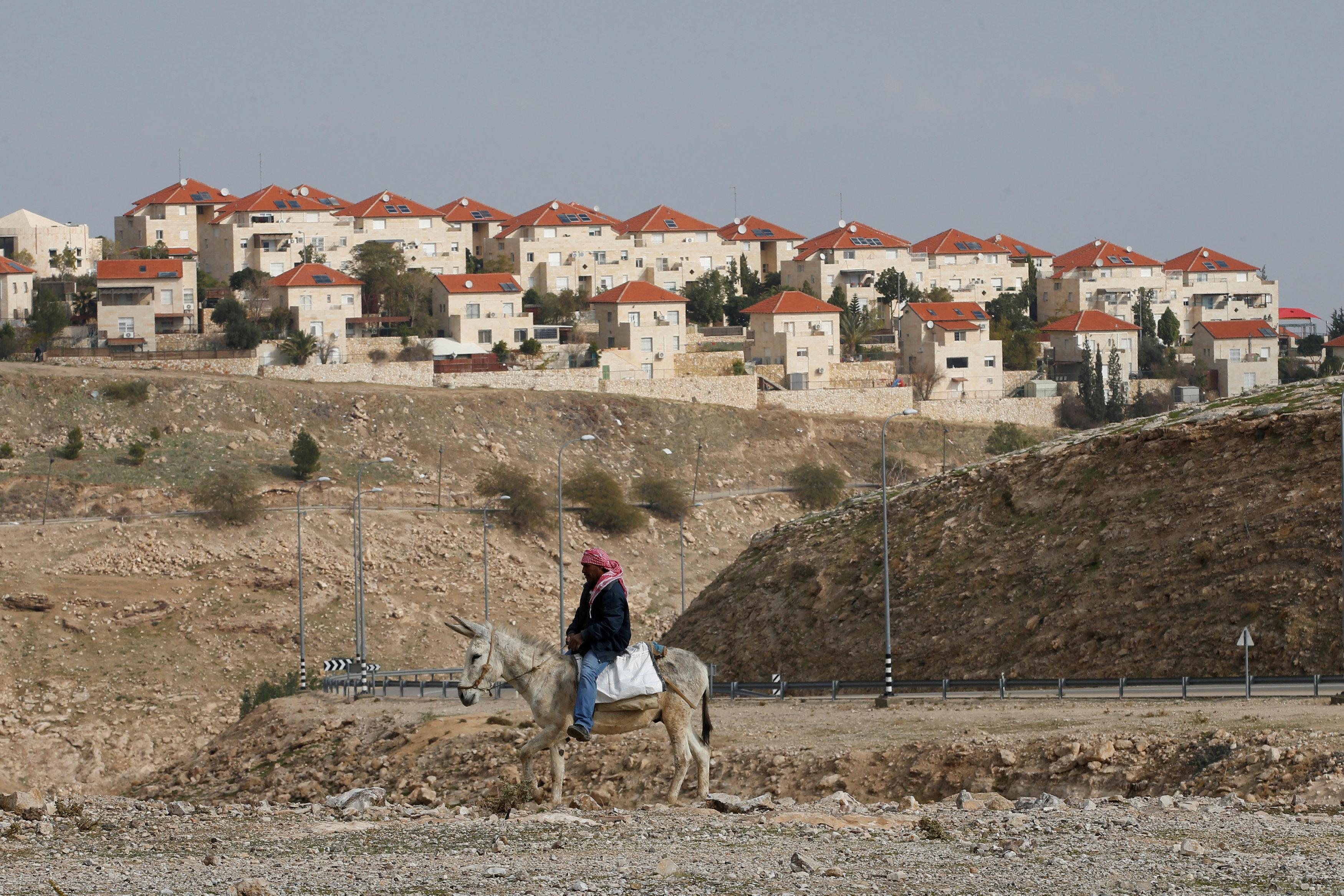 Palestinian man next to Israeli settlement