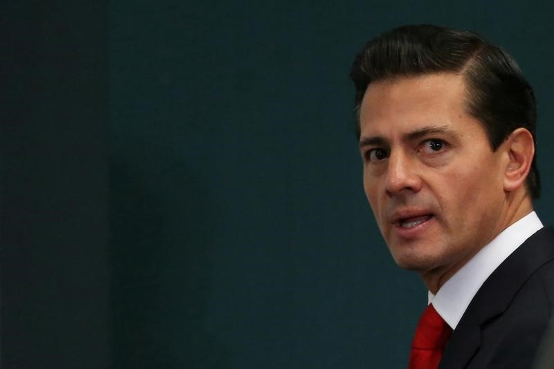 Mexico's President Enrique Pena Nieto is seen during the delivery of a message about foreign affairs at Los Pinos presidential residence in Mexico City, Mexico,