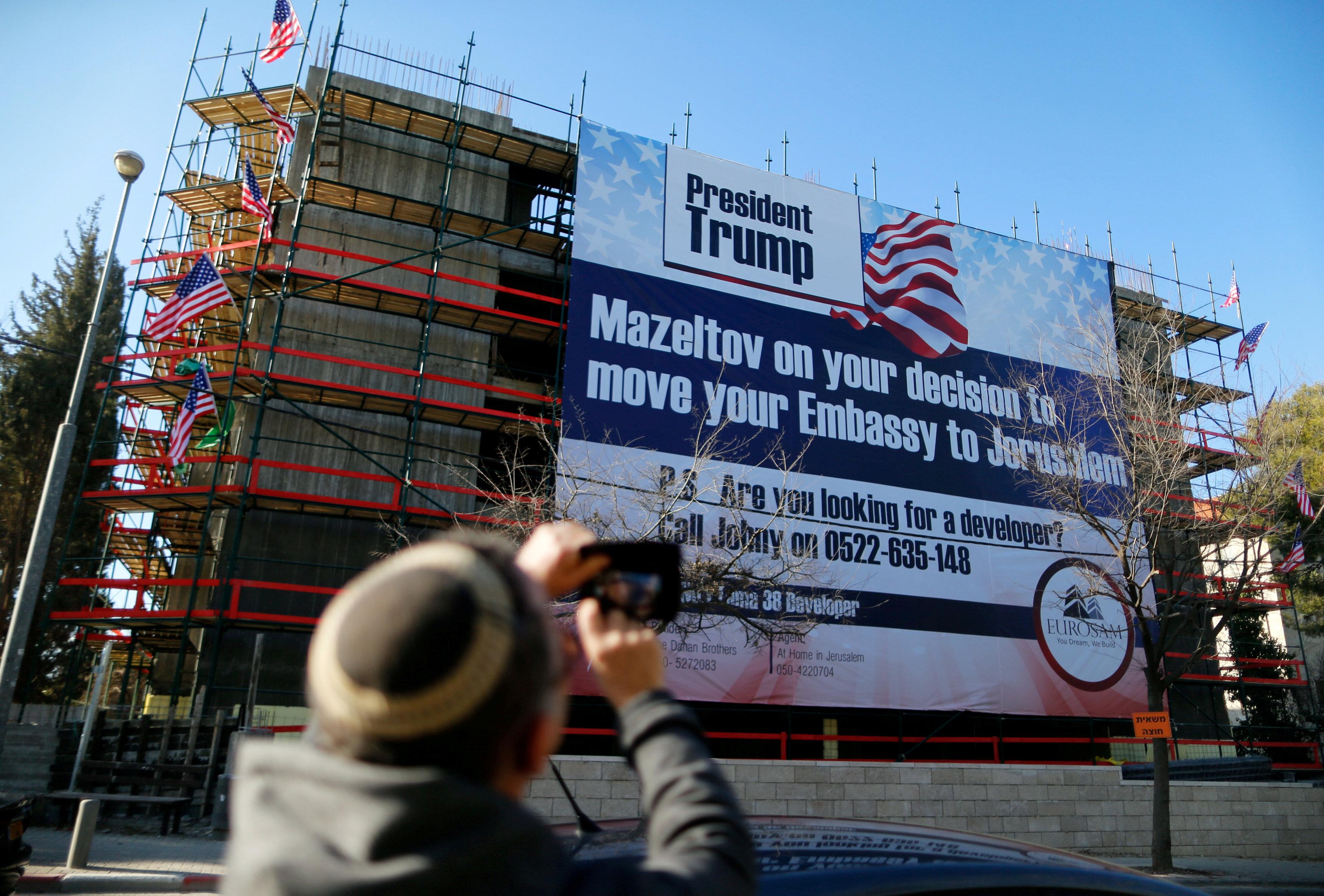 giant banner congratulating Donald Trump in Jerusalem, Israel