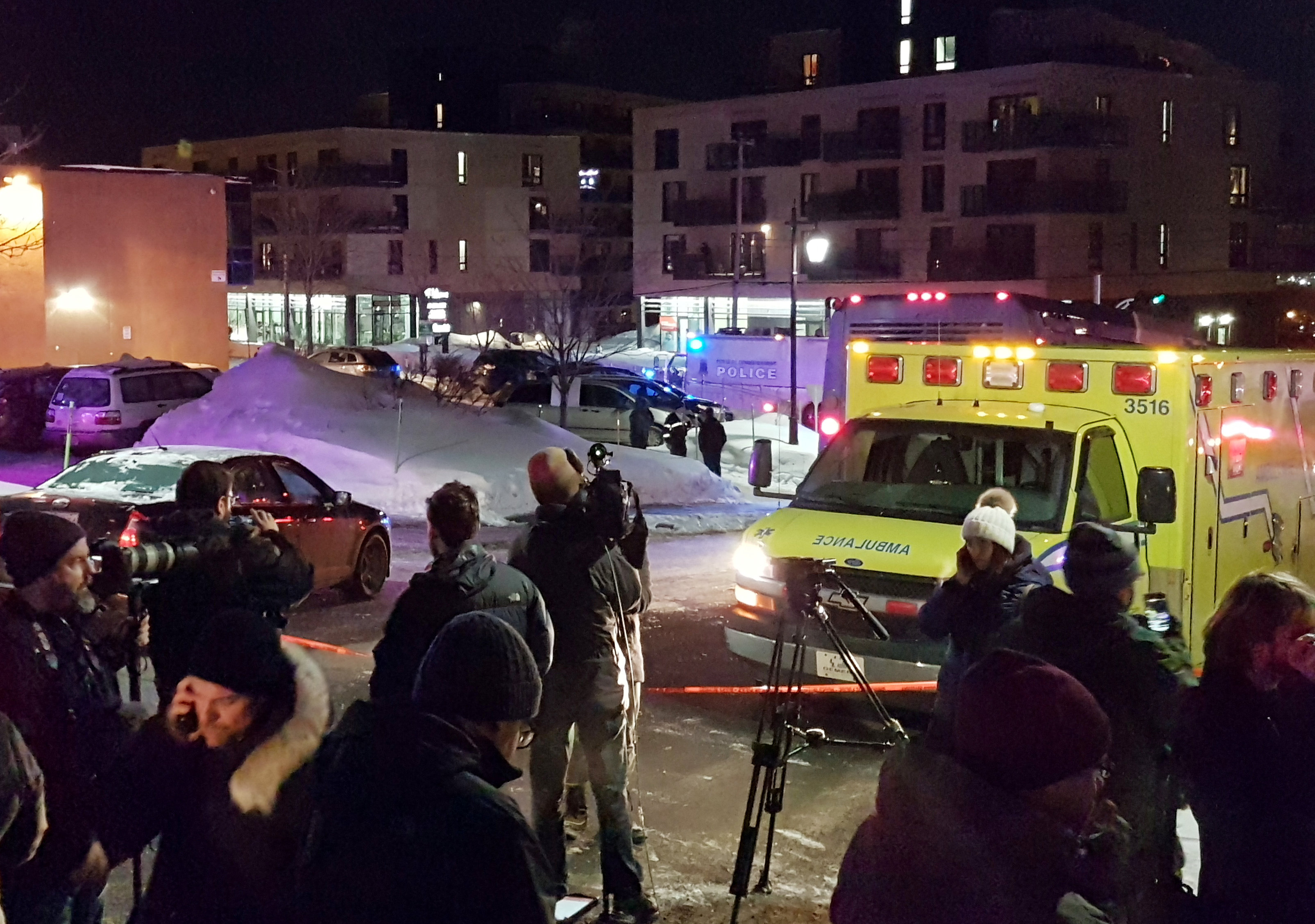 ambulance parked at scene of Quebec mosque shooting