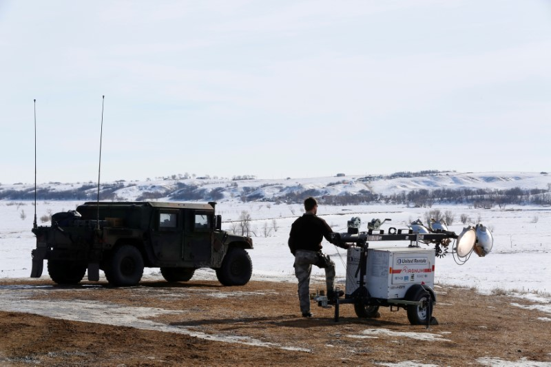Law enforcement officers monitor outskirts of protests for Dakota Access Pipeline