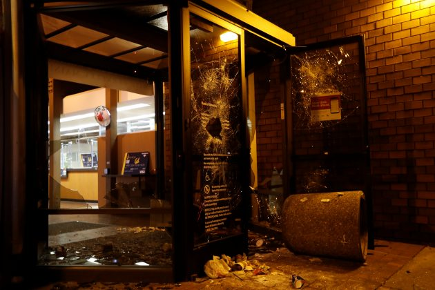 """vandalized bankf of america at scene of """"protest"""""""