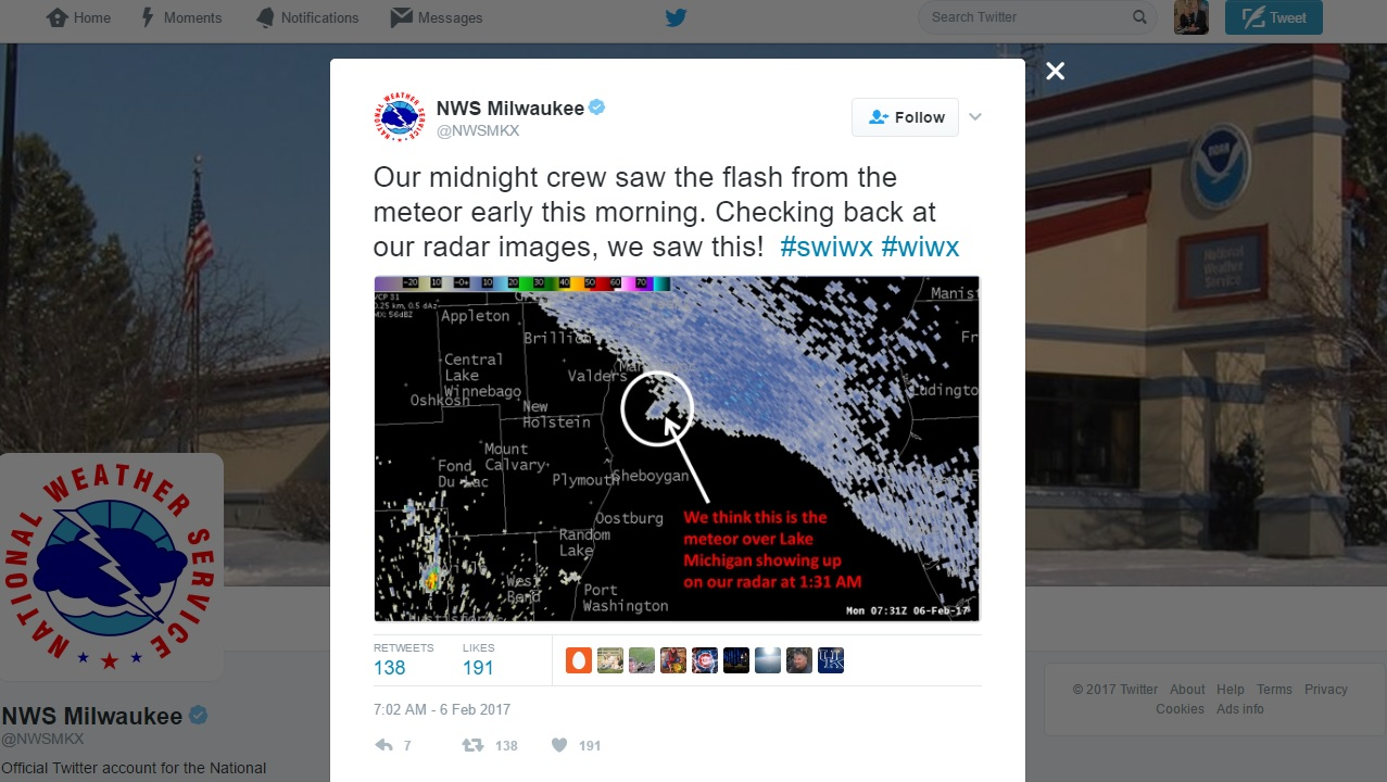 National Weather Service tweet about meteor