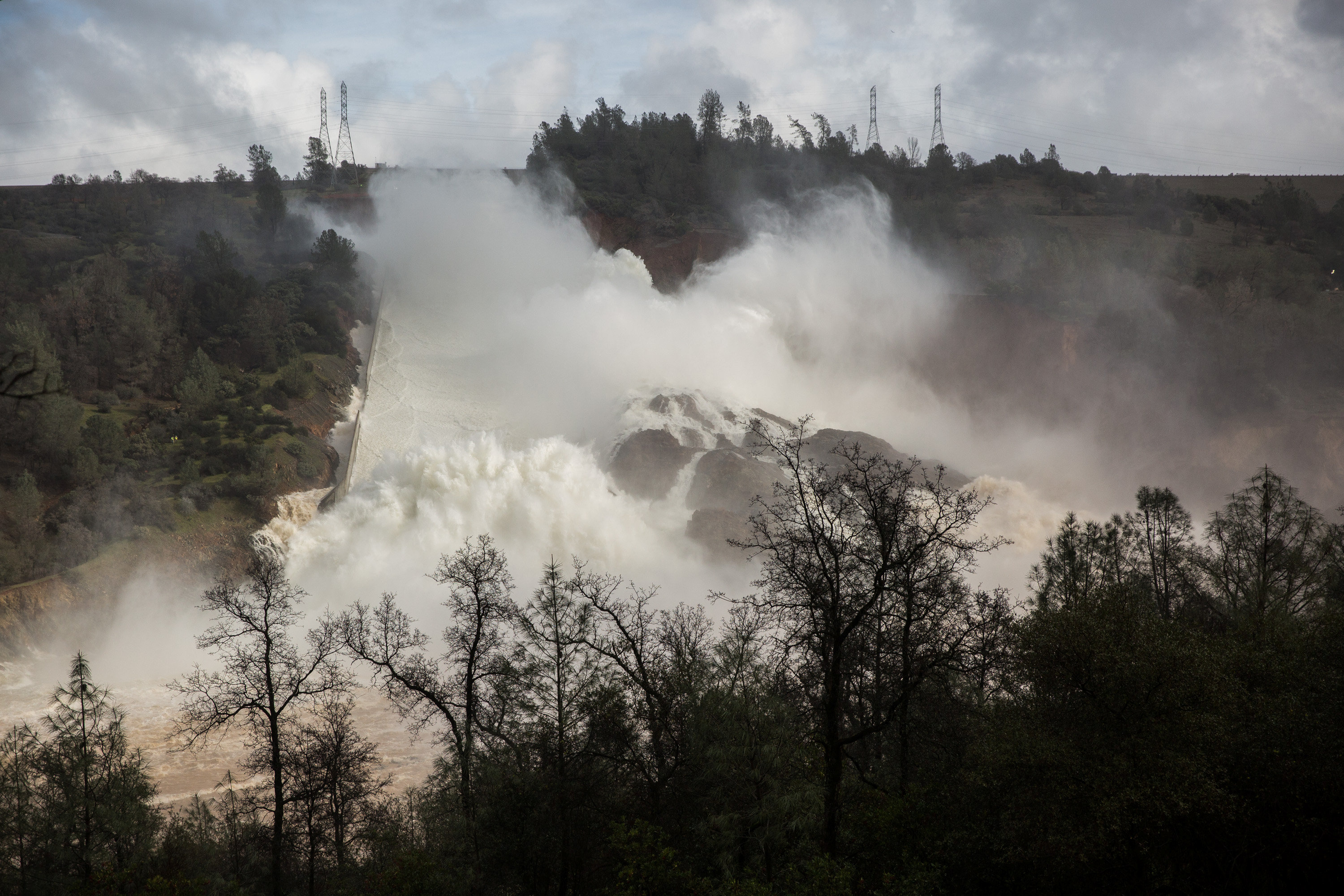 65,000 cfs of water flow through a damaged spillway on the Oroville Dam in Oroville, California, U.S.