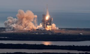 A SpaceX Falcon 9 rocket lifts off on a supply mission to the International Space Station from historic launch pad 39A at the Kennedy Space Cente