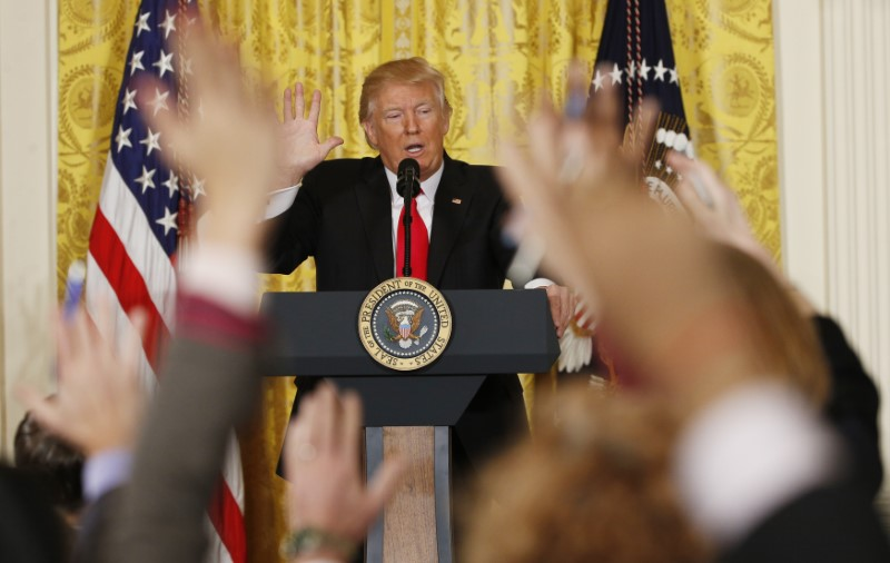 U.S. President Donald Trump takes questions during a news conference at the White House in Washington, U.S.