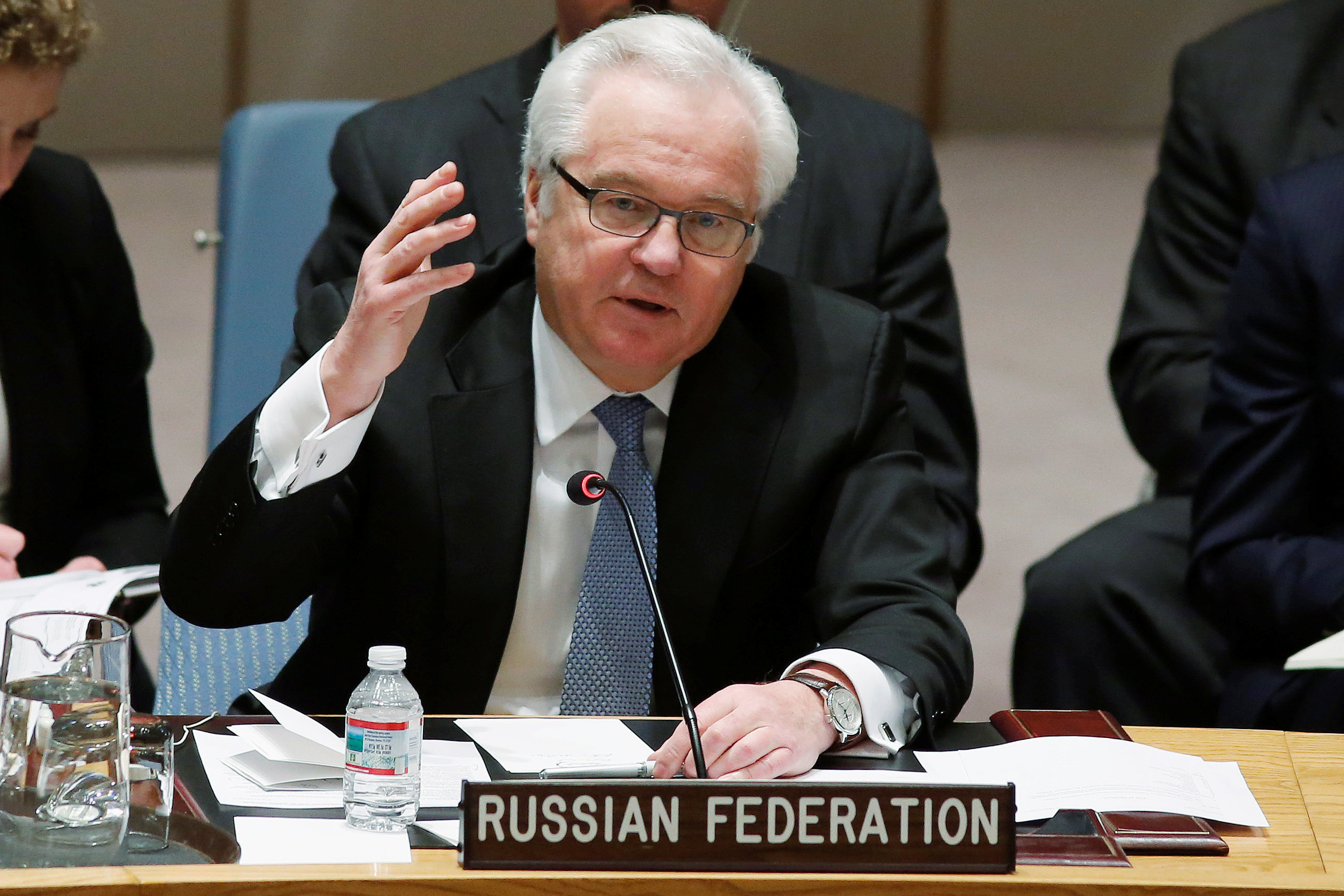 Russian Ambassador to the United Nations Vitaly Churkin addresses members of the U.N. Security Council during a meeting about the Ukraine situation, at the U.N. headquarters in New York