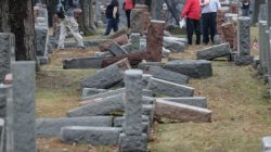 Local and national media report on more than 170 toppled Jewish headstones after a weekend vandalism attack on Chesed Shel Emeth Cemetery in University City, a suburb of St Louis, Missouri, U.S. February 21, 2017. REUTERS/Tom Gannam