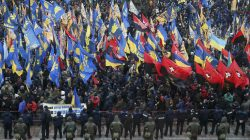 Activists of nationalist groups and their supporters take part in the so-called March of Dignity, marking the third anniversary of the 2014 Ukrainian pro-European Union (EU) mass protests, in Kiev, Ukraine, February 22, 2017. REUTERS/Valentyn Ogirenko