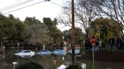 Vehicles are seen partially submerged in flood water at William Street Park after heavy rains overflowed nearby Coyote Creek in San Jose, California. REUTERS/Stephen Lam