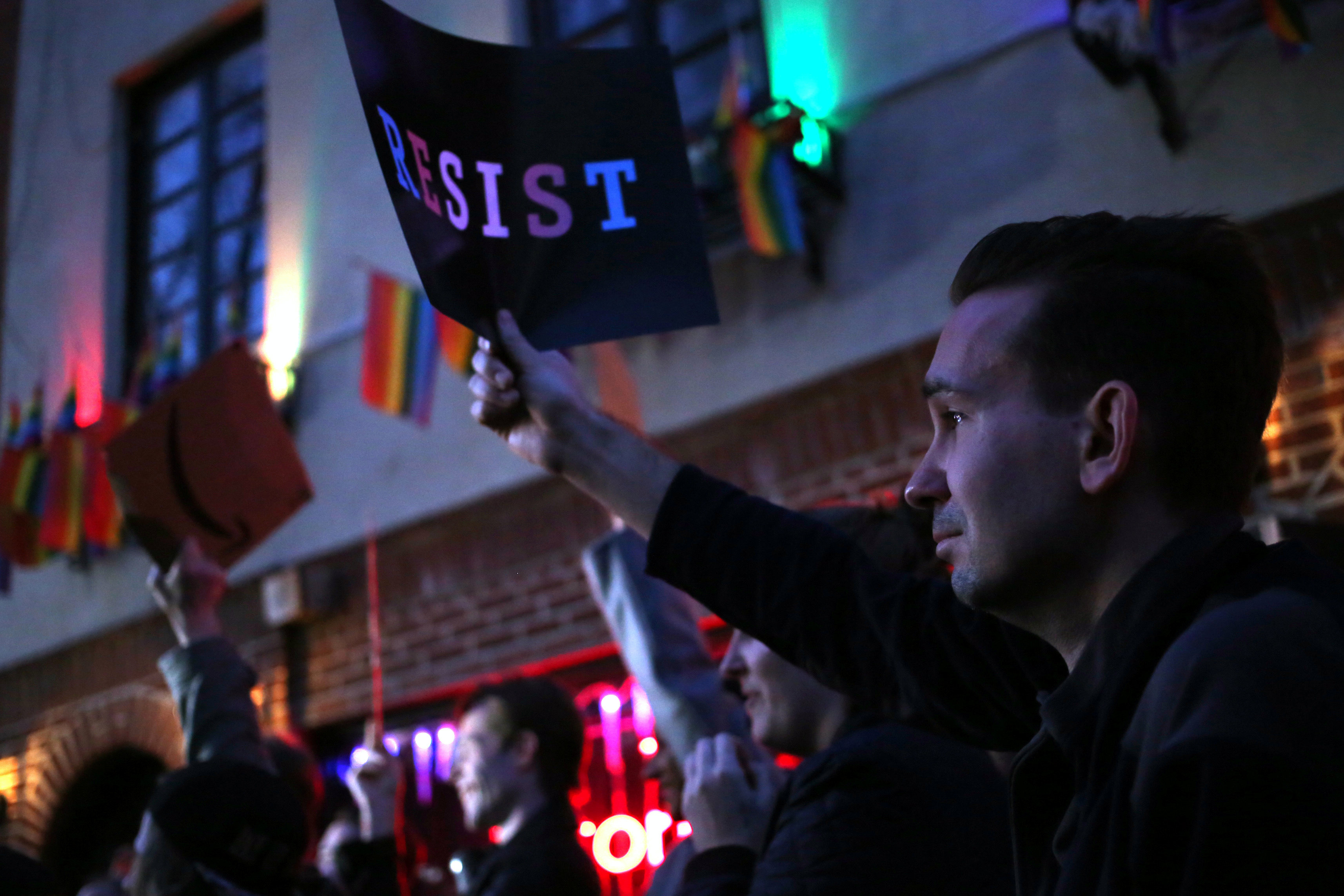 A man reacts outside of The Stonewall Inn during a protest against the Trump administration's move to rescind guidance allowing transgender students to use the bathrooms of their choice, in Manhattan, New York, U.S., February 23, 2017. REUTERS/Bria Webb