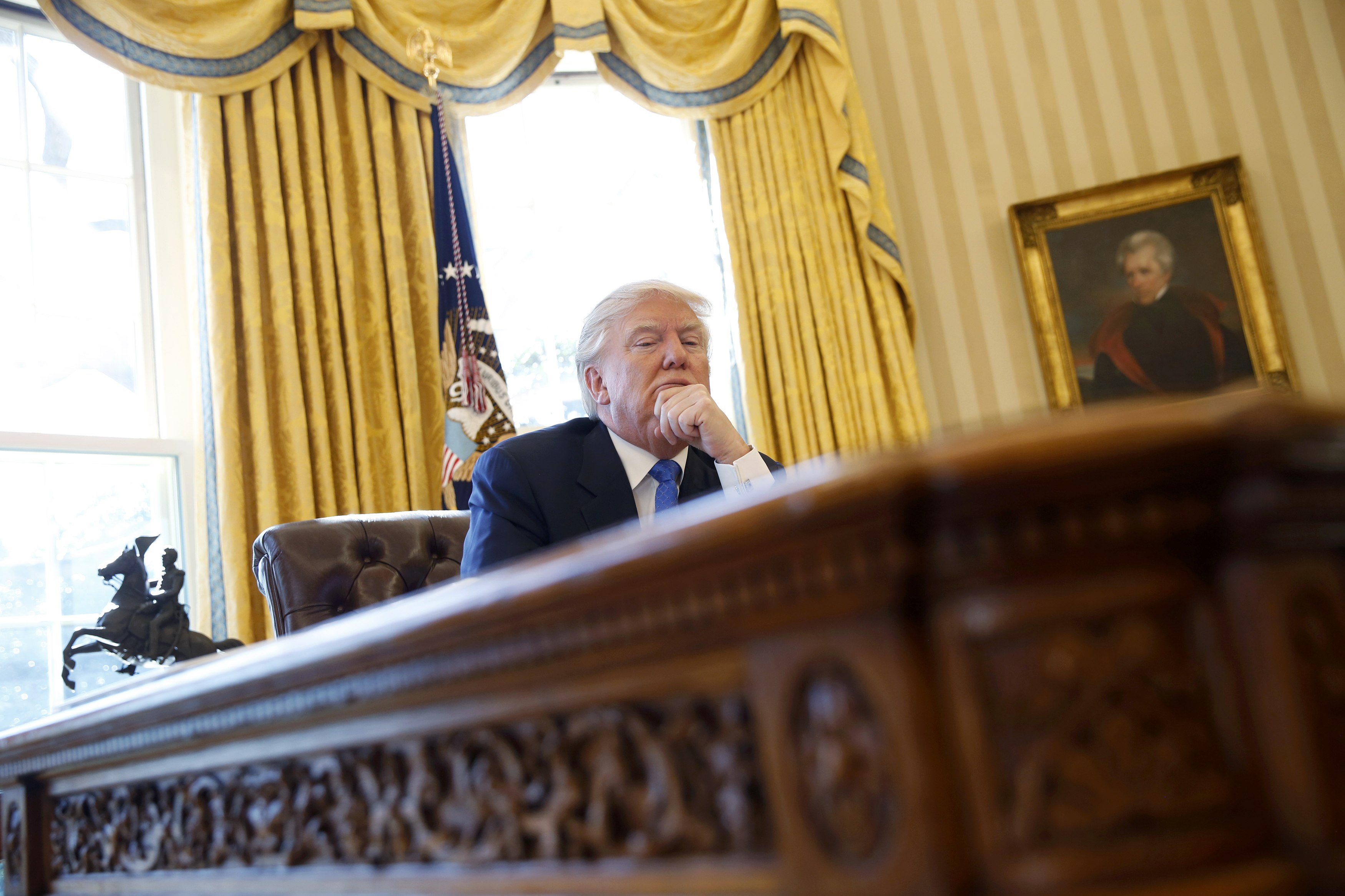 U.S. President Donald Trump pauses during an an interview with Reuters in the Oval Office at the White House in Washington, U.S., February 23, 2017. REUTERS/Jonathan Ernst
